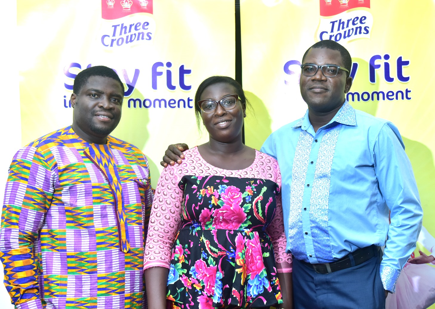 L-R: Mr. Jesufemi Ololade, Junior Brand Manager, Three Crowns Milk and Winners of the Three Crowns Milk Love-in-a-Card Valentine Competition, Mr. Valentine Egbadon and his Wife, Mrs. Oyinloluwa Egbadon during the Three Crowns Milk Special Valentine Dinner Treat held at Radisson Blu Hotel, Ikeja, Lagos recently.