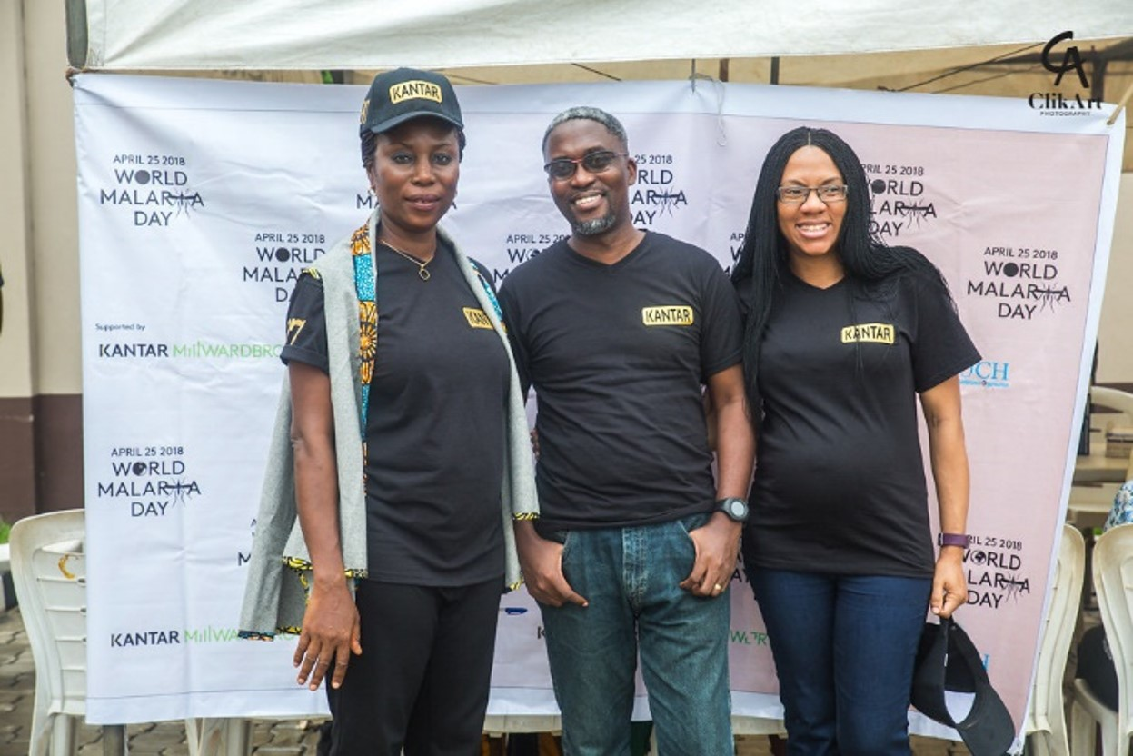 L-R: Augustina Umunna, Head, Kantar World Panel Nigeria, Fikayo Aremu, Account Director, Fintech Research, Kantar TNS Nigeria, Isioma Mbanefo, HR Business Partner, Kantar West Africa at this year's World Malaria Day celebration in Lagos recently.