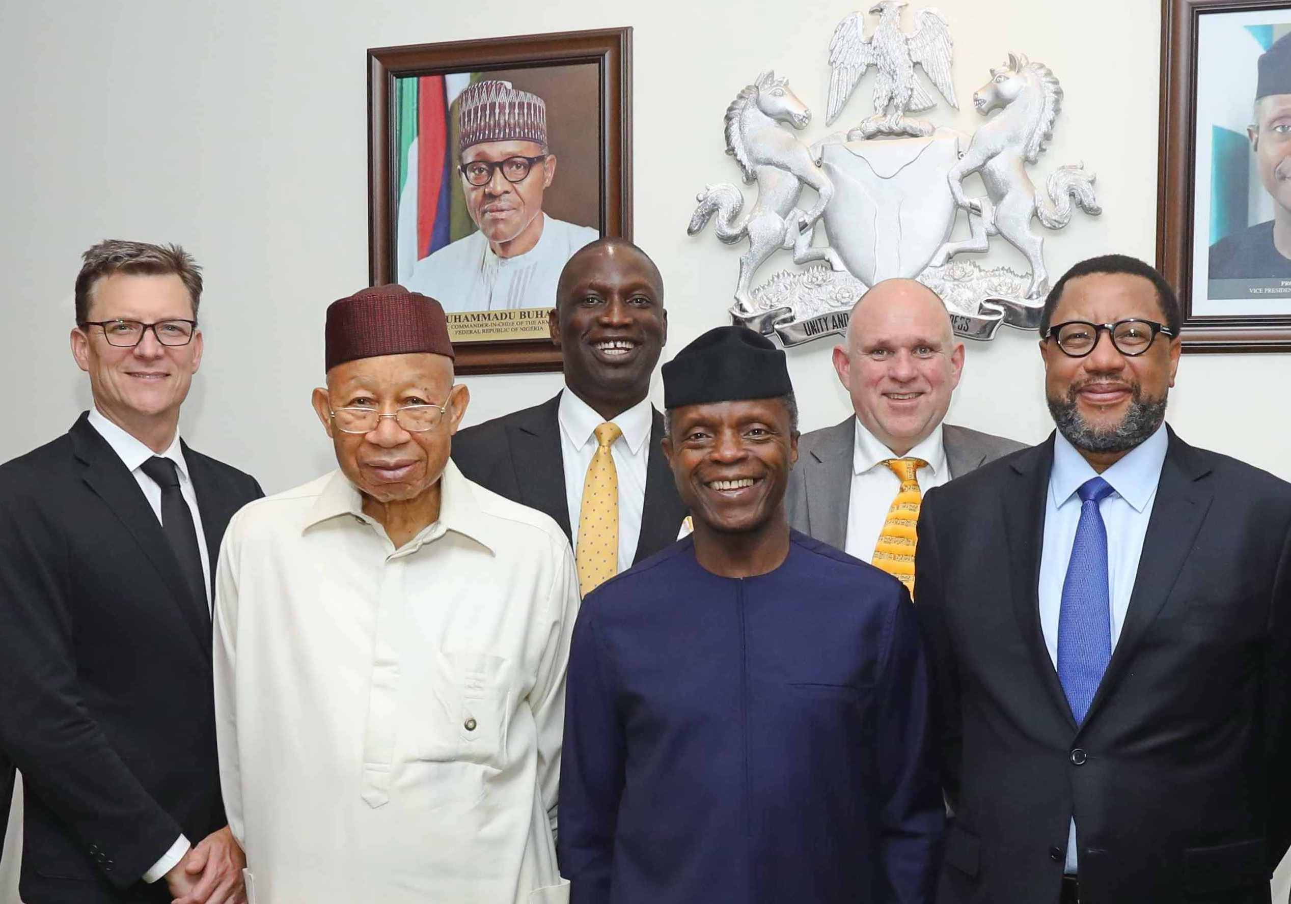 L-R: Rob Shuter, Group Chief Executive Officer/President MTN; Dr. Pascal Dozie, Chairman MTN Nigeria; Tobechukwu Okigbo, Corporate Relations Executive, MTN Nigeria; Professor Yemi Osinbajo, Vice President of the Federal Republic of Nigeria; Ferdinand Moolman, Chief Executive Officer, MTN Nigeria and Phuthuma Nkhleko, Group Chairman, MTN during a courtesy visit to the Vice President in Abuja yesterday.