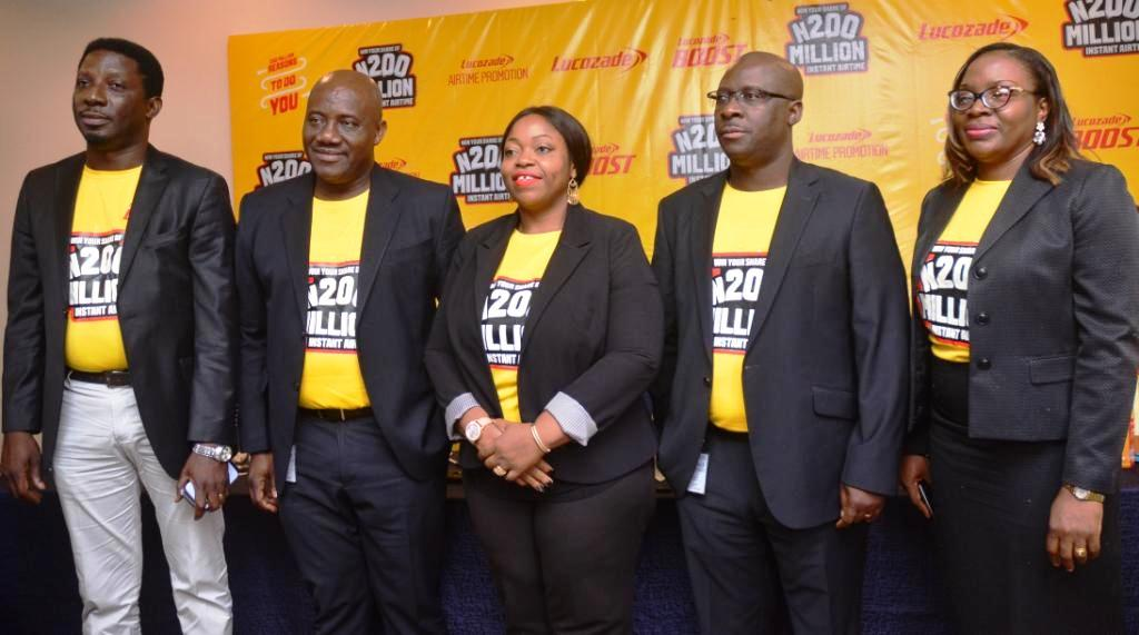 L-R: Country Sales Director, Ademola Adeoye; Managing Director, Chinedum Okereke; Marketing Director, Rosemary Akpo; HR & Corporate Affairs Director, Ola Ehinmoro and Head of Lucozade Brands & Innovation; Chika Adibo all of Suntory Beverage and Food Nigeria Limited at the launch of the 2018 Lucozade Airtime Promotion in Lagos…