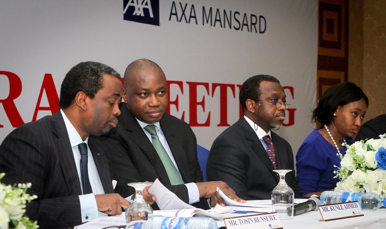L-R: Mr Tosin Runsewe, Chief Client Officer; Mr Kunle Ahmed, Chief Executive Officer; Mr. Olusola Adeeyo, Chairman and Mrs Omowunmi Adewusi, General Counsel/Company Secretary all of AXA Mansard at the 26th Annual General Meeting that took place in Lagos yesterday.