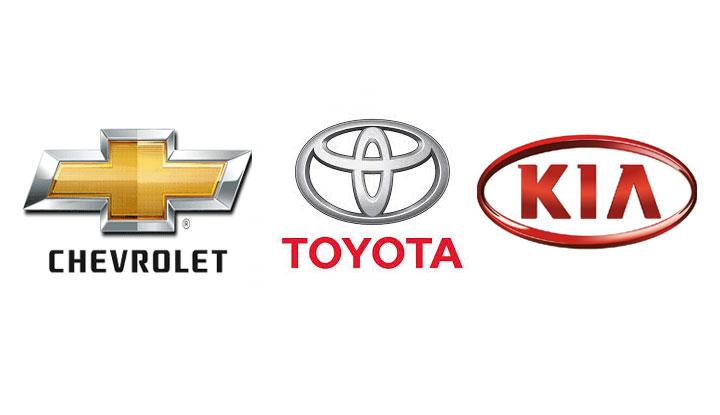 Chevrolet,-Toyota,-Kia